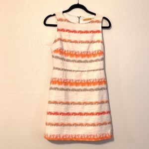 Alice+Olivia Tweed Striped White Dress w/ Cut Out